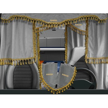 Curtains in the cab of the...